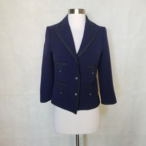 ANTHROPOLOGIE navy structured piped blazer